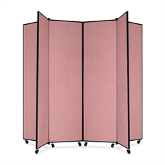 "Screenflex Panel Mobile Display Tower - 77"" Height x 84"" Width - Mauve Polyester Fabric Surface - Steel Frame - 1 Each"