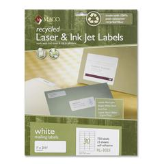 "Maco Mailing Label - Permanent Adhesive - 1"" Width x 2.63"" Length - 30 / Sheet - Rectangle - Laser, Inkjet - White - 750 / Pack"