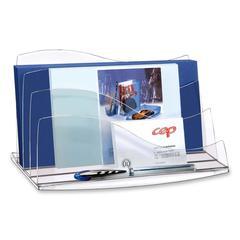 CEP 3-Step Ice Desk Accessories Letter Sorter - 3 Compartment(s) - Desktop - Crystal - Polystyrene - 1Each