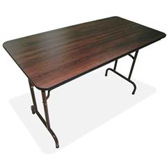 "Economy Folding Table - Rectangle Top - 60"" Table Top Length x 30"" Table Top Width x 0.63"" Table Top Thickness - 29"" Height - Mahogany"