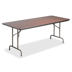 "Lorell Economy Folding Table - Rectangle Top - 72"" Table Top Length x 30"" Table Top Width x 0.63"" Table Top Thickness - 29"" Height - Mahogany"