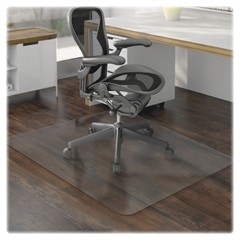 "Chair Mat - Hard Floor, Wood Floor, Vinyl Floor, Tile Floor - 60"" Length x 46"" Width x 95 mil Thickness - Rectangle - Vinyl - Clear"