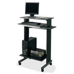 "Buddy Euroflex Stand Up Height Fixed Workstation - 29.50"" Table Top Width x 19.62"" Table Top Depth x 0.75"" Table Top Thickness - 44.25"" Height - Assembly Required - Charcoal, Laminated, Melamine"