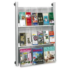 "Safco Luxe Magazine Rack - 9 x Magazine, 18 - 9 Pocket(s) - 9 Compartment(s) - 9 Divider(s) - 41"" Height x 31.8"" Width x 5"" Depth - Floor, Wall Mountable - Silver Frame - Acrylic, Aluminum - 1Each"
