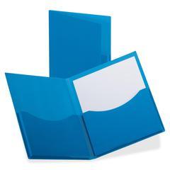 "Oxford Laminated DoubleStuff Twin Pocket Folder - Letter - 8 1/2"" x 11"" Sheet Size - 200 Sheet Capacity - 2 Pocket(s) - Navy - 20 / Box"