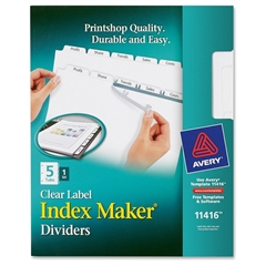 "Avery Index Maker Clear Label Dividers - 5 Blank Tab(s) - 5 Tab(s)/Set - 8.5"" Divider Width x 11"" Divider Length - Letter - 3 Hole Punched - White Divider - White Tab(s) - 5 / Set"