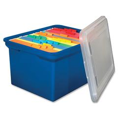 "Innovative Storage Design File Tote - External Dimensions: 14.1"" Width x 18"" Depth x 10.2""Height - 50 lb - Media Size Supported: Legal, Letter - Snap-tight Closure - Stackable - Plastic - Blue - For F"