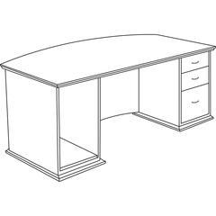 "Contemporary 9000 Bow Front Desk - 72"" x 34"" x 29"" - 3Right Side - Material: Hardwood - Finish: Mahogany, Veneer"