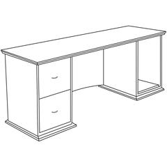 "Contemporary 9000 Credenza - 72"" x 24"" x 29"" - 2Left Side - Material: Hardwood - Finish: Mahogany, Veneer"