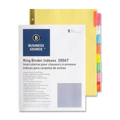 """Business Source Reinforced Insertable Tab Indexes - 8 x Divider(s) - 8 Tab(s)/Set1.50"""" Tab Width - 8.5"""" Divider Width x 11"""" Divider Length - Letter - 3 Hole Punched - Buff Divider - Manila Tab(s) - 8"""