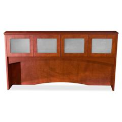 "Lorell Contemporary 9000 Overhead Storage - 72"" x 41"" x 16"" - Drawer(s)4 Door(s) - Material: Glass Door - Finish: Mahogany, Veneer"