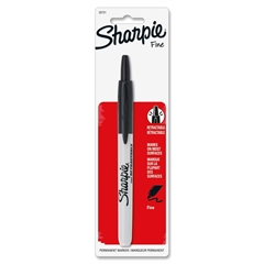 Sharpie Fine Point Retractable Markers - Fine Point Type - Black - 1 Each