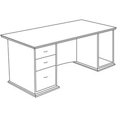 "Contemporary 9000 Pedestal Desk - 66"" x 30"" x 29"" - 3 - Single Pedestal on Left Side - Material: Hardwood - Finish: Cherry, Veneer"