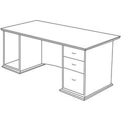 "Lorell Contemporary 9000 Pedestal Desk - 66"" x 30"" x 29"" - 3 - Single Pedestal on Right Side - Material: Hardwood - Finish: Cherry, Veneer"