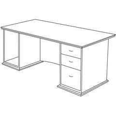 "Contemporary 9000 Pedestal Desk - 66"" x 30"" x 29"" - 3 - Single Pedestal on Right Side - Material: Hardwood - Finish: Mahogany, Veneer"