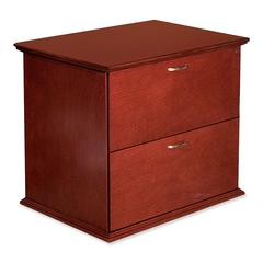"Lorell Contemporary 9000 Lateral Files - 33"" x 29"" x 24"" - 2 - Material: Hardwood - Finish: Mahogany, Veneer"