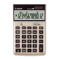 "HS-20TG Semi-desktop Calculator - Dual Power - 12 Digits - LCD - Battery/Solar Powered - 1.3"" x 4.1"" x 6.5"" - Black - 1 Each"