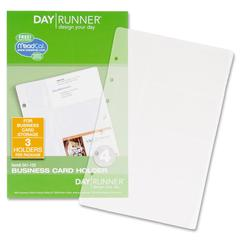 "Day Runner Business Card Holder - 5.50"" x 8.50"" - 7-ring - Clear - Hole-punched"