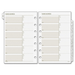 "Classic A-Z Tab Refills - 5.50"" x 8.50"" - 7-ring - White - Address Directory, Phone Directory, Tabbed, Hole-punched"