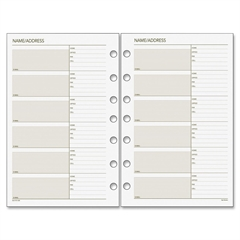 "Day Runner Telephone/Address Planner Pages - 5.50"" x 8.50"" - 7-ring - White - Phone Directory, Address Directory, Hole-punched"