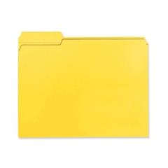 "Smead 100% Recycled Colored Folders - Letter - 8 1/2"" x 11"" Sheet Size - 1/3 Tab Cut - Assorted Position Tab Location - 11 pt. Folder Thickness - Yellow - Recycled - 100 / Box"