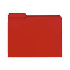 "Smead 100% Recycled Colored Folders - Letter - 8 1/2"" x 11"" Sheet Size - 1/3 Tab Cut - Assorted Position Tab Location - 11 pt. Folder Thickness - Red - Recycled - 100 / Box"