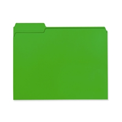 "100% Recycled Colored Folders - Letter - 8 1/2"" x 11"" Sheet Size - 1/3 Tab Cut - Assorted Position Tab Location - 11 pt. Folder Thickness - Green - Recycled - 100 / Box"