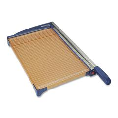 "Westcott Wood Guillotine Trimmer - Cuts 10Sheet - 15"" Cutting Length - 3.5"" Height x 25.6"" Width x 14.3"" Depth - Stainless Steel Blade, Wood Base - Blue, Wood Grain"