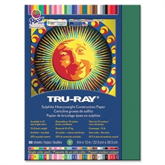 "Tru-Ray Sulphite Construction Paper - 12"" x 9"" - 76 lb Basis Weight - 50 / Pack - Dark Green - Sulphite"