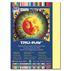 "Tru-Ray Sulphite Construction Paper - 12"" x 9"" - 76 lb Basis Weight - 50 / Pack - Light Yellow - Sulphite"