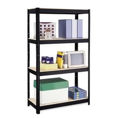 "500 Series Shelve Unit - 36"" x 16"" x 60"" - 4 x Shelf(ves) - 900 lb Load Capacity - Black - Particleboard, Metal - Recycled - Assembly Required"