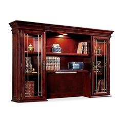 "Keswick 7990-64 Executive Overhead Storage Hutch - 72"" x 15"" x 50"" - 6 Shelve(s) - Material: Glass Door - Finish: Cherry, English Cherry, Veneer"