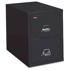"FireKing 2-1831-C Vertical File Cabinet - 17.8"" x 31.6"" x 27.8"" - 2 x Drawer(s) for File - Letter - Vertical - Insulated, Fire Proof, Key Lock, Scratch Resistant, Water Resistant - Black - Powder Coat"