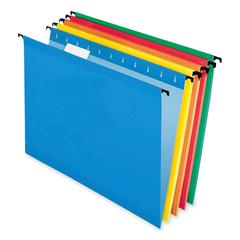 "SureHook Reinforced Hanging Folder - Letter - 8 1/2"" x 11"" Sheet Size - 1/5 Tab Cut - Red, Blue, Orange, Yellow, Bright Green - 20 / Box"
