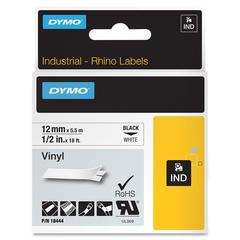 "Dymo RhinoPRO 18444 Tape Cartridge - Permanent Adhesive - ""0.47"" Width x 18.04 ft Length - Rectangle - Thermal Transfer - White, Black - Vinyl - 1 Each"