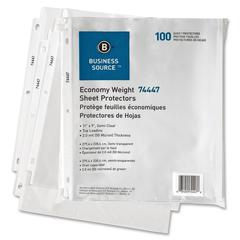 "Business Source Top-Loading Economy-weight Semi-clear Sheet Protector - 11"" Height x 9"" Width - 2 mil Thickness - For Letter 8.50"" x 11"" Sheet - Ring Binder - Rectangular - Semi Clear - Polypropylene"