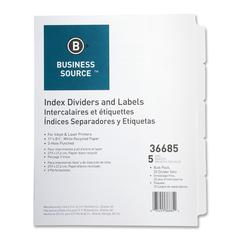 "Business Source Punched Laser Index Dividers - 5 Blank Tab(s) - 8.5"" Divider Width x 11"" Divider Length - Letter - 3 Hole Punched - White Paper Divider - White Tab(s) - 25 / Box"
