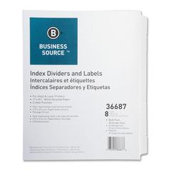 """Business Source Punched Laser Index Divider - 8 - Tab(s)Blank - 8.50"""" Divider Width x 11"""" Divider Length - Letter - 3 Hole Punched - White Paper Divider - White - 25 / Box"""