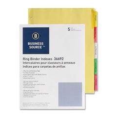 "Ring Binder Index Divider - 5 Blank Tab(s)2"" Tab Width - 8.50"" Divider Width x 11"" Divider Length - Letter - 3 Hole Punched - Multicolor Tab(s) - 5 / Set"