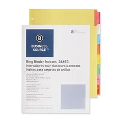 "Business Source Ring Binder Index Divider - 8 Blank Tab(s)1.50"" Tab Width - 8.50"" Divider Width x 11"" Divider Length - Letter - 3 Hole Punched - Multicolor Tab(s) - 8 / Set"