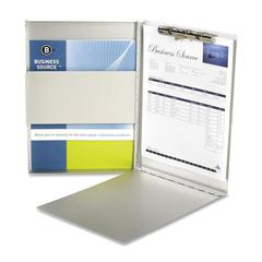 """Business Source Anodized Aluminum Form Holder - 0.50"""" Clip Capacity - Storage for 30 - Side Opening - 8.50"""" x 12"""" - Silver"""