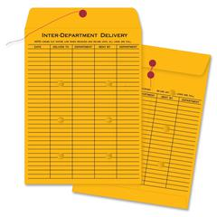 "Business Source Interdepartmental Envelope - Interoffice - 10"" Width x 13"" Length - 28 lb - String/Button - Kraft - 100 / Box - Kraft"