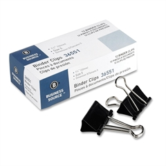 "Business Source Fold-back Binder Clips - Medium - 1.3"" Width - 0.63"" Size Capacity - 1 Pack - Black - Steel"