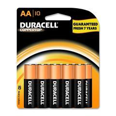 Duracell CopperTop Alkaline AA Battery - AA - Alkaline - 1.5 V DC - 10 / Pack