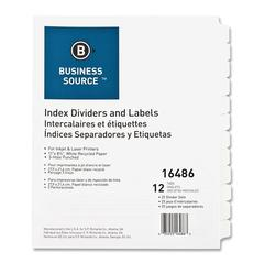 Business Source Customize 12-Tab Index Dividers - 12 x Divider(s) - 12 Print-on Tab(s) - 3 Hole Punched - White Divider - White Tab(s) - 25 / Box