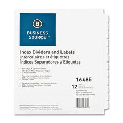 Business Source Customize 12-Tab Index Dividers - 12 x Divider(s) - 12 Print-on Tab(s) - 3 Hole Punched - White Divider - White Tab(s) - 5 / Pack