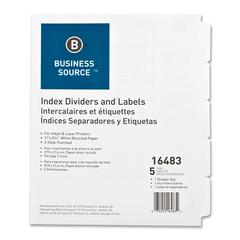 Business Source Punched Laser Tab Divider - 5 x Divider(s) - 5 Tab(s)/Set - 3 Hole Punched - White Tab(s) - 5 / Set