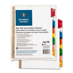 "Business Source Tear-resistant Tab Index Dividers - 8 x Divider(s) - 8 Tab(s)/Set - 8.5"" Divider Width x 11"" Divider Length - Letter - White Divider - Multicolor Tab(s) - 8 / Set"