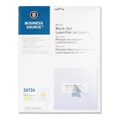 """Business Source Block-out Mailing Laser/Inkjet Label - Permanent Adhesive - 1"""" Width x 2.63"""" Length - Rectangle - Laser, Inkjet - White - 750 / Pack"""