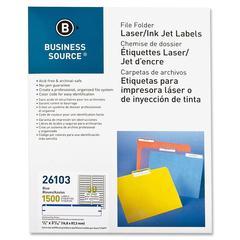 "Business Source File Folder Label - Permanent Adhesive - ""0.66"" Width x 3.43"" Length - 30 / Sheet - Rectangle - Laser, Inkjet - Dark Blue - Paper - 1500 / Pack"